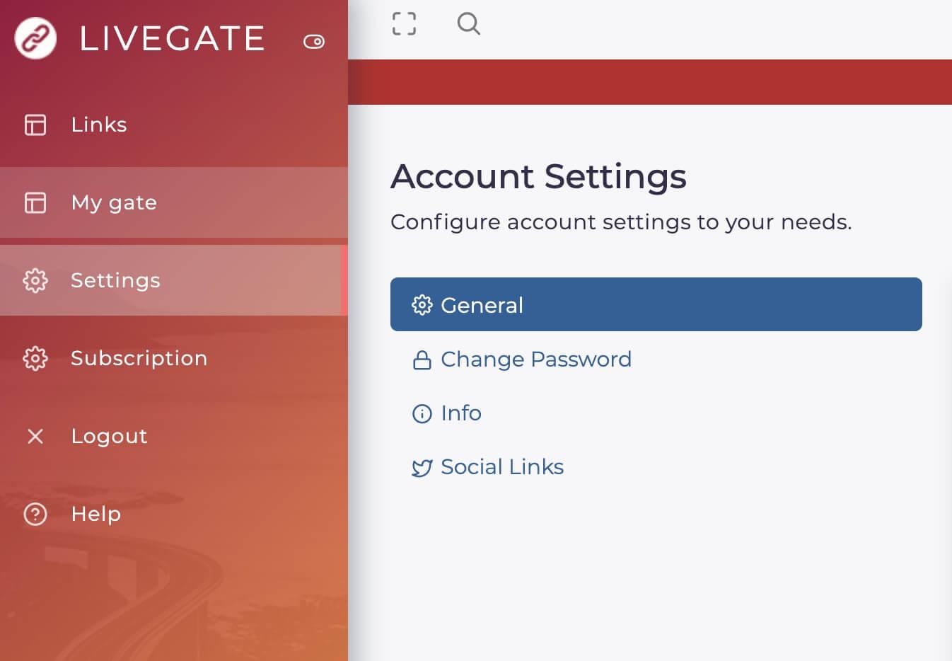 Livegate settings