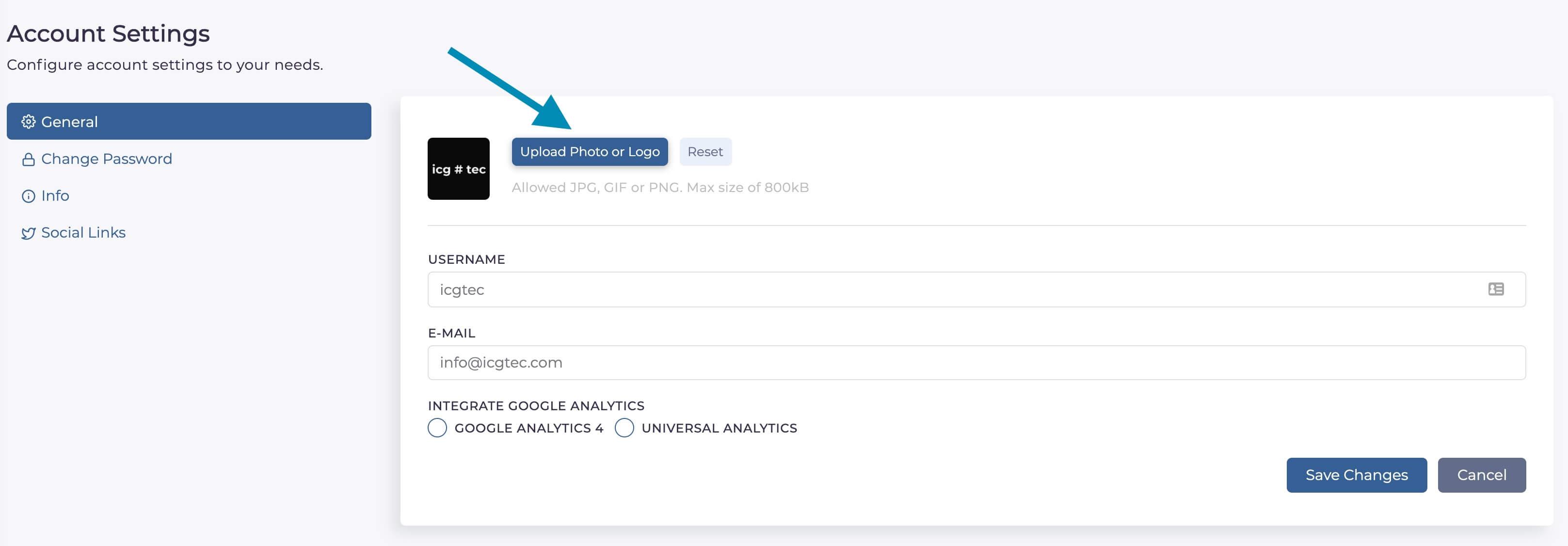 Change logo on Livegate link in bio