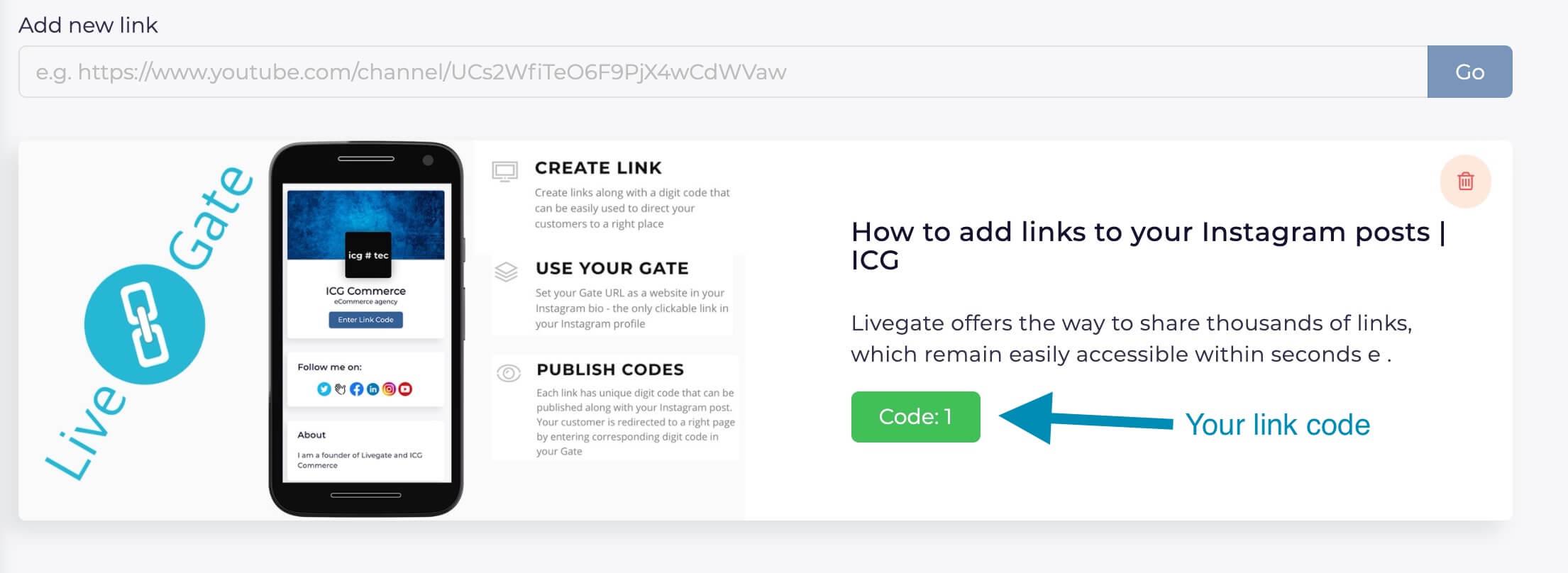 Livegate - Get link code