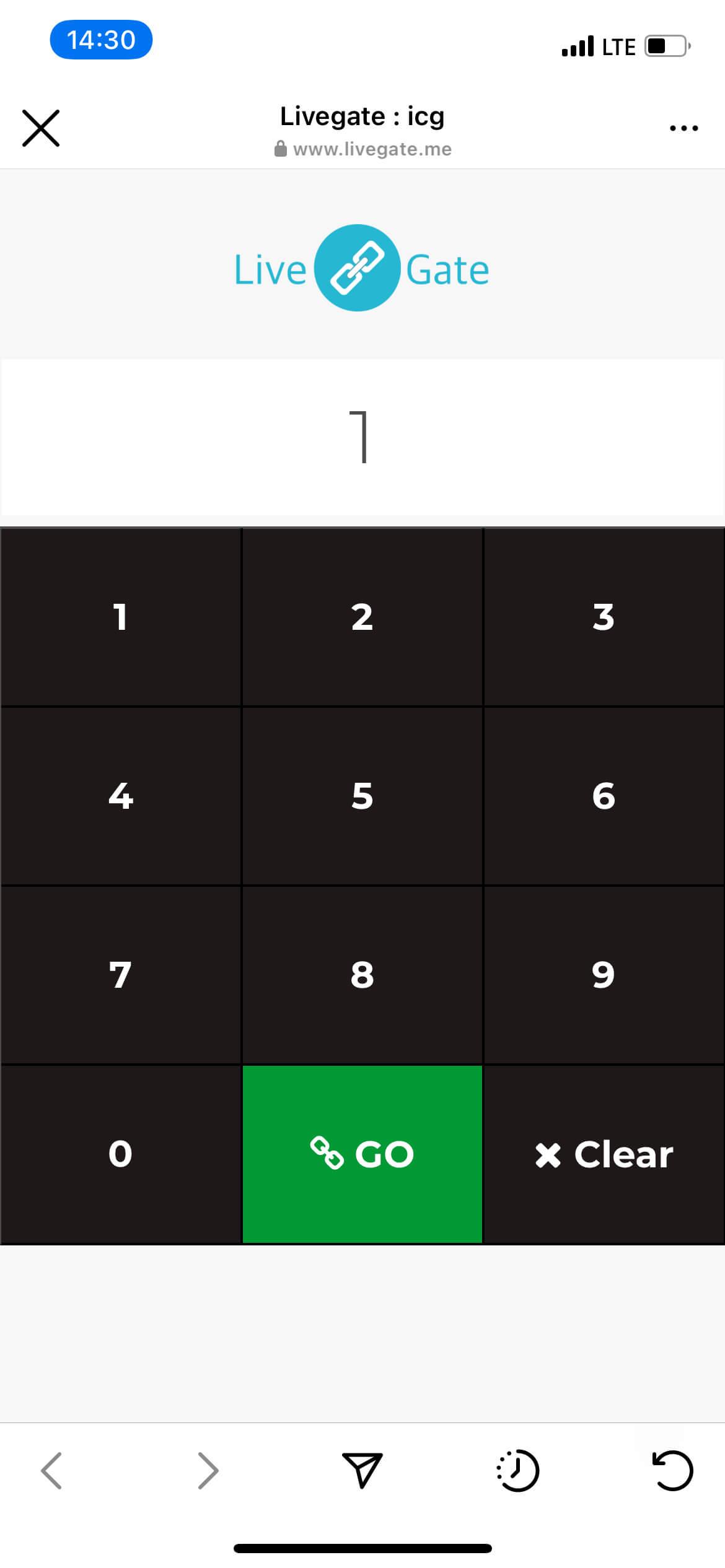 Livegate - Enter link code